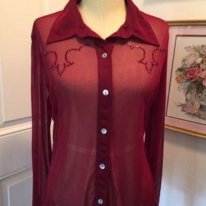MODA International Burgundy Sheer Western Shirt